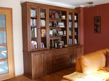 Bücherschrank Landhaus mit Schubladen Eiche massiv, geölt